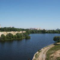 Вид с моста через Москва-реку на М9 в сторону Москвы. Лето. View from the bridge over the Moskva River on the M9 towards Moscow. Summer, Рублево