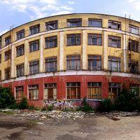 Бывшее здание медицинского училища, бывшее здание школы № 1; ул. Центральная, д. 11. Панорама. 12.06.2010, Фрязино