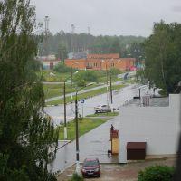 Вид с окна на молочку и стадион, Шатура
