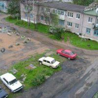 Вид на двор персечения ул. Мира и ул. Строителей, Парфино