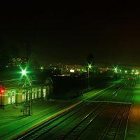 Вид с переходного моста на жд. вокзал, Бердск