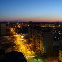 Закат, панорама ночного Омска, переулок (29.03.2011), Любинский