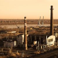 Вид на территорию заброшеного элеватора, Любинский