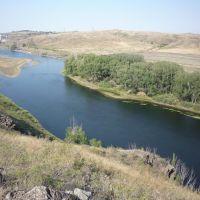 Река Урал после плотины., Ириклинский