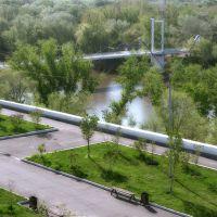 Orenburg. The Boulevard and foot-bridge Europe-Asia., Оренбург