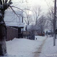 Зима 1990 года, вечером в поселке Сосновоборск, улица Калинина, дом 52, Сосновоборск