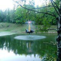 Фонтан на озере в парке, Партизанск