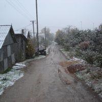 ул. Больничная, первый снег, Пустошка