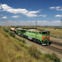 Diesel locomotive 2TE116-861/666 with train, Аютинск