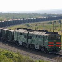 Diesel locomotive 2TE116-1291 with train, Аютинск