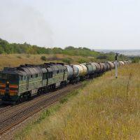 Diesel locomotive 2TE116-1275 with train, Аютинск