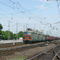 Electric locomotive VL80S-1808 with train on train station Bataysk, Батайск