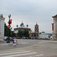 Касимов. Вид части торговой площади с Успенской церковью., Касимов