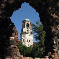 Vyborg. A tower with hours., Выборг