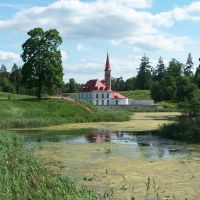 Gatchina - Prioratsky Palace, view from the other shore, Гатчина
