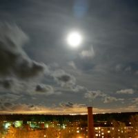 Ночная панорама Питера (светится на горизонте в 40 км :)) из окна, октябрь 2008, Ломоносов