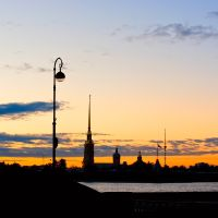The highest lantern and the lowest TV Tower of St. Petersburg :-), White Nights (11:52 PM) / Самый высокий фонарь Петербурга :-), Санкт-Петербург