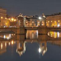 Река Фонтанка. Вид на мост Ломоносова. Fontanka river. View of the bridge named after Lomonosov., Санкт-Петербург