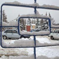 Вид на памятник Ленину с вокзала. Зима, Балашов