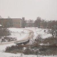Вид на административный центр из-за реки. Зима, Лысые Горы