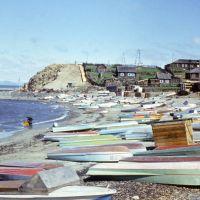 Лодки на берегу р. Лена у пос. Сангар.1977г.., Сангар