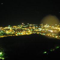 Панорама ночного города, вид с телевышки, Оха, Охинский район, Сахалинская область, Россия, Оха