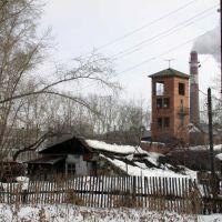 Вид на пожарную каланчу и труба БОЗа, Богданович