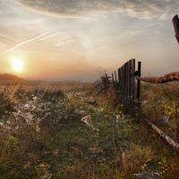 В лучах рассвета покосившийся забор, Воронцовка