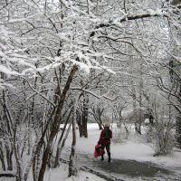 Первомайская пурга. Единственный островок цвета в черно-белом мире. Snowstorm on May 1, 2009. The only coloured spot, Первоуральск