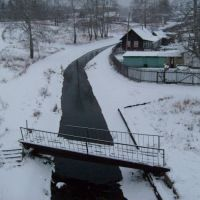 Sarainaya river, view from bridge to bridge, Североуральск