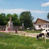 Корова и памятник, площадь пгт. Тугулым, Тугулым