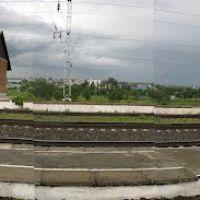 Панорама. Электричка из Минеральных-Вод  у ЖДВ вокзала, Курсавка