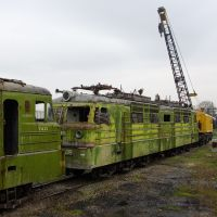 Old electric locomotives VL60K in depot Mineralnie Vody, Новоалександровская