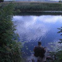 г. Жердевка река САВАЛА рыбак на своём рыбацком месте (август 2009 г.), Жердевка