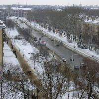 Vista of railway station. International street. February. (Улица Интернациональная. Вид на вокзал)., Тамбов