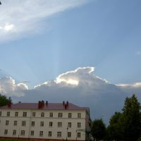 The centre of Bavly before summer thunderstorm, Бавлы