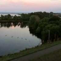 вид на устье Свияги с моста через Волгу, Зеленодольск