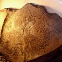 Stone with petroglyphs from the Scythian kurgan burials Arzhan-2 in museum of local lore of Turan, Туран