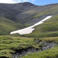 склоны Монгун-Тайги, снежники и текущие с них ручьи, Тээли