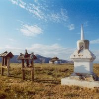 Buddhist stupa, prayer wheels and temple Tubden Chojkhorling, Хову-Аксы