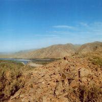 Remains of Uyghur fortress at hill near Ust-Elegest village, Хову-Аксы