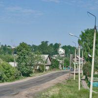 Село Дебесы, улица Советская, начало лета, видно новую Троицкую церковь, Дебесы
