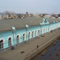 Инза, вид на здание вокзала с пешеходного моста, Инза