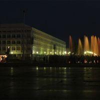 Пед.университет и музыкальный фонтан вечером, Ульяновск