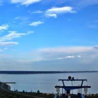 Вечернее небо над Волгой и мостом, Ульяновск