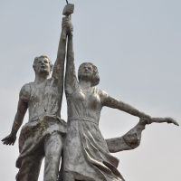 "Sculpture ""Worker and Kolkhoz Woman"" at roof of house of Culture in Bikin town, Бикин"