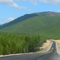 Трасса Лидога-Ванино, свежий асфальт протяженностью 12 км, 03.06.2010, Высокогорный