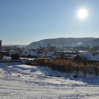 Obluchye (2013-02) - Town and ski slope from distance, Облучье