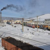 Obluchye (2013-02) - View from pedestrian bridge across railway, Облучье