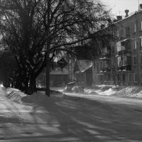 winter morning in the street construction, Озерск